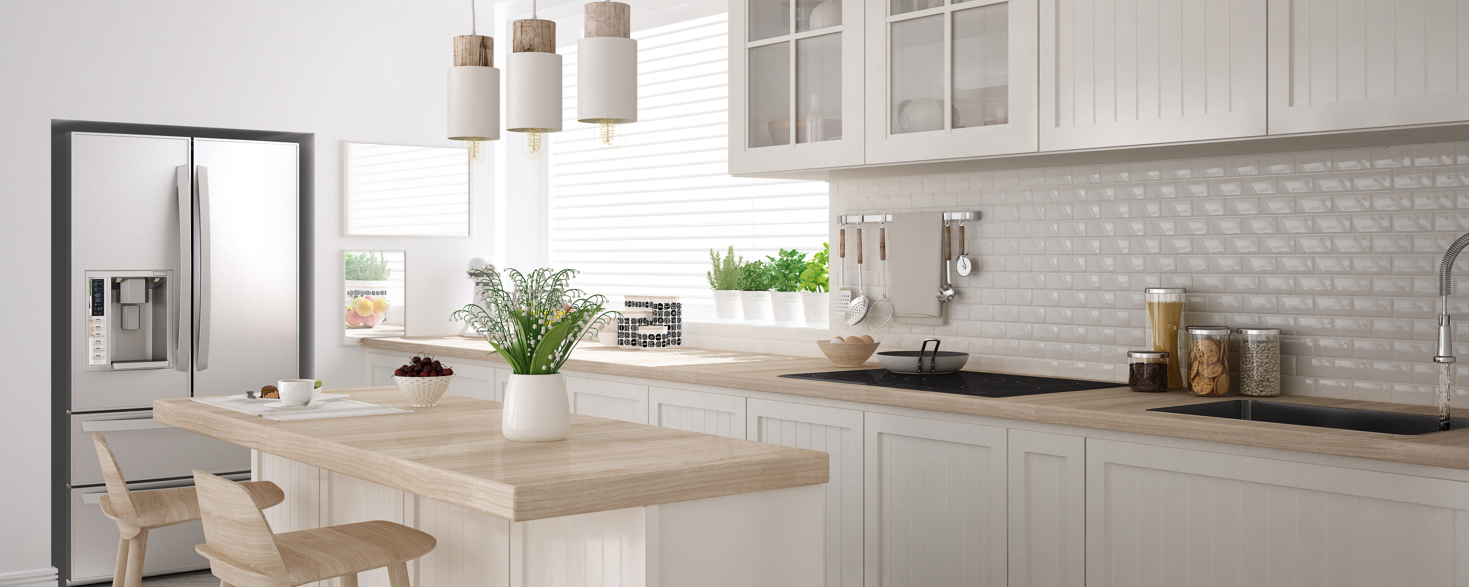 Scandinavian classic kitchen with wooden and white details, mini